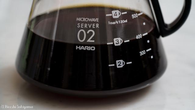 HARIO V60 レンジサーバー 600ml XVD-60Bの3杯のところまでコーヒーを注いだ様子