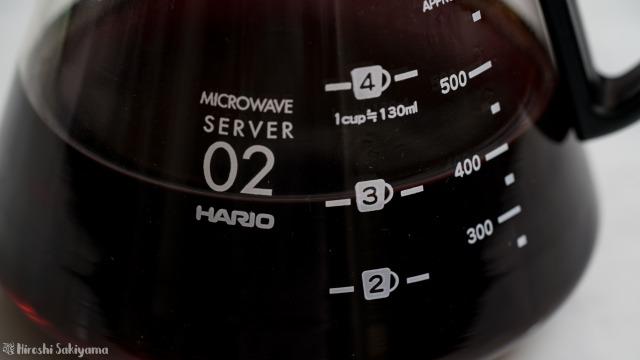 HARIO V60 レンジサーバー 600ml XVD-60Bの目盛り