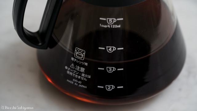 HARIO V60 レンジサーバー 600ml XVD-60Bの120ml準拠のカップ数目盛り