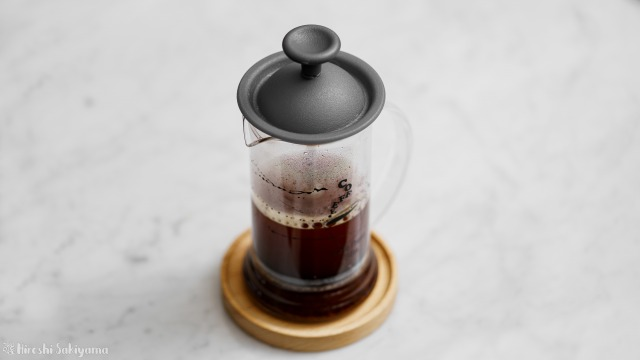 タカムラ コーヒーロースターズのコーヒー豆をフレンチプレスで淹れる、抽出完了