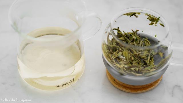 【Simple Lab Experience】AIRO. air-lock easy brewing tea set【MAGIC BREW】で淹れたお茶が入ったマグカップと、抽出中後の急須部分